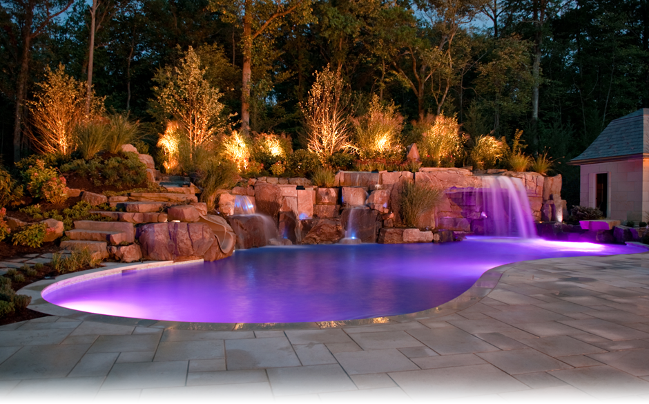 Backyard Pool At Night : Outdoor Living & Swimming Pools  Kevo Development Corporation manages